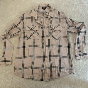 Jones New York Blush/Black Plaid Shirt SZ Large